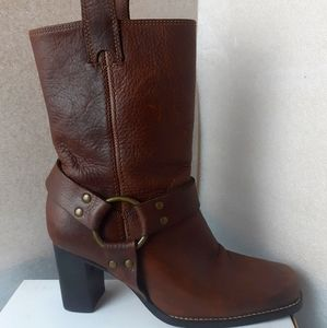 70s Grandma 💯%Leather Harness Moto ankle boot 6us